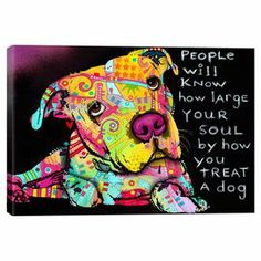 An eye-catching addition to your living room or master suite, this vibrant street art-inspired canvas print showcases a pit bull in a bold palette.   Product: Canvas printConstruction Material: Cotton canvas and pine woodFeatures:  Made in the USAReady to hang