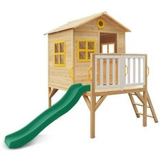 Buy online: Archie Cubby Playhouse with Green Slide - Lifespan Kids – Happy Active Kids Indoor Tents, Indoor Play, Playhouse With Slide, Painted Window Frames, Play Houses, Kids Cubby Houses, Kids Cubbies, Teepee Play Tent