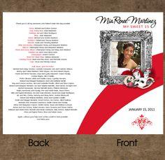 Sweet 15 Or 16 Program Programa Personalized Folded Card Any Theme Phantom Opera Set Of