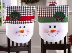 Snow Family Holiday Dining Chair Covers from Collections Etc. - PICTURE ONLY: use felt, ribbon and pompoms to create your own special chair covers. Christmas Sewing, Christmas Snowman, Christmas Stockings, Christmas Holidays, Christmas Decorations, Christmas Ornaments, Christmas Patchwork, Country Christmas, Snowman Crafts