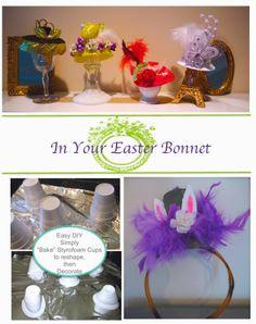 "Easy Easter bonnets from ""baled"" styrofoam cups"