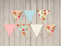 Instant Download - Garden Tea Party Bunting Banner Flags - DIY Printable Floral Flower Party Decorations
