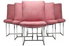Six Chrome Frame Milo Baughman Dining Chairs in Pink Ultra Suede Fabric Contemporary Home Office Furniture, Contemporary Dining Chairs, Utility Room Designs, Pink Furniture, Milo Baughman, Sofa, Chairs For Sale, Mid Century Furniture, Dining Room Chairs