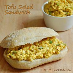 Tofu Salad Sandwich - Egg Salad - Vegan Recipe http://www.roshniskitchen.com/2013/09/tofu-salad-sandwich-egg-salad-vegan.html