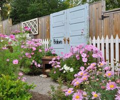 Lush plantings of pink cosmos now soften the fence. There is also an invisible trellis created by stringing fishing line along the doors and planting clematis to clamber up it. Sections of old, white picket fence complete the look and add charm. Garden Fencing, Lawn And Garden, Garden Doors, Garden Privacy, Spring Garden, Beautiful Space, Beautiful Gardens, Old Doors, Salvaged Doors