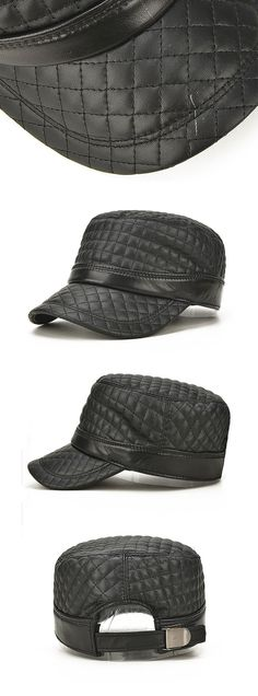 ccd9cf15dd5 Men s Winter Sheepskin Warm Flat Top Hat Casual Visor Trucker Hats Baseball  Cap is hot sale on Newchic.