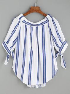 Blue Vertical Striped Tie Sleeve Curved Hem Blouse Mobile Site