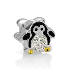 925 Sterling Silver Black White Yellow Crystal Penguin Bead Charm Fits Pandora Bracelet. Height: 8.7 mm, Width: 11 mm. Hole size is approximately 4.8 to 5mm. Chuvora beads are compatible with Pandora and other styles of European bracelets. These beads fit but do NOT represent any of these major brands. Each jewelry piece is individually handmade. Therefore slight variations may occur between the item you receive and the item shown in the picture. Pictured chain is not included.