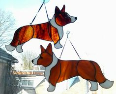 Stained glass Welsh cardigan corgis by Maria Curwell.