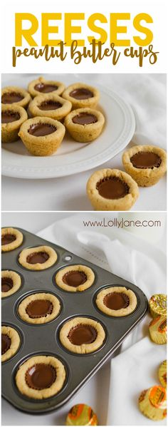 Reese's Peanut Butter Cookies Mini Reese's Peanut Butter Cookie Cups. A family favorite and SO yummy! Love this easy mini Reeses peanut butter cup cookie recipe! Fast cookies are the best for quick dessert ideas! Reese Cup Cookies, Peanut Butter Cup Cookies, Reeses Peanut Butter, Sugar Cookie Cups, Quick Easy Desserts, Easy Snacks, Quick Dessert, Awesome Desserts, Cookie Recipes