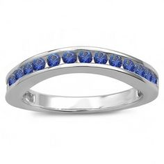 Share for $20 off your purchase of $100 or more! 0.75 Carat (ctw) 18k White Gold Round Blue Sapphire Ladies Curved Guard Matching Bridal Wedding Band - Dazzling Rock #https://www.pinterest.com/dazzlingrock/