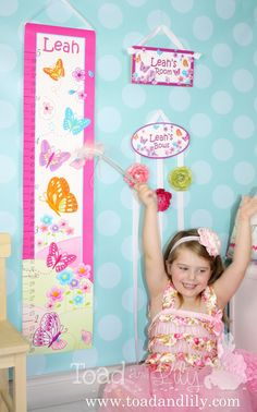 Girls hot pink and turquoise butterfly bedroom décor including a personalized canvas growth chart, hair bow holder, and door sign from Toad and Lily. Baby Bedroom, Kids Bedroom, Bedroom Wall, Bedroom Ideas, Butterfly Bedroom, Personalized Growth Chart, Door Signs, Diy Craft Projects, Wall Decals