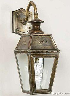 Kensington Overhead Arm Outdoor Wall Lantern, Light Antique Brass