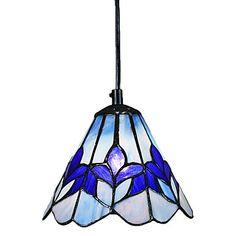 60W Glass Tiffany Pendant Light with 1 Light Purple Flower Pattern – USD $ 99.99 (over kitchen sink)