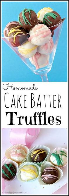 Homemade Cake Batter Truffles recipe - easy from scratch no bake candy that can… Best Dessert Recipes, Candy Recipes, Just Desserts, Delicious Desserts, Yummy Food, Profiteroles, Cake Batter Truffles, Truffle Recipe, Galette