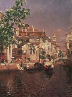 Rubens Santoro (1859-1942)  - Canale a Venezia
