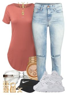 A fashion look from April 2016 featuring H&M jeans, Michael Kors watches and Forever 21 rings. Browse and shop related looks. Dope Outfits, Swag Outfits, Girl Outfits, Casual Outfits, Fashion Outfits, Hipster Outfits, School Outfits, Cute Fashion, Look Fashion