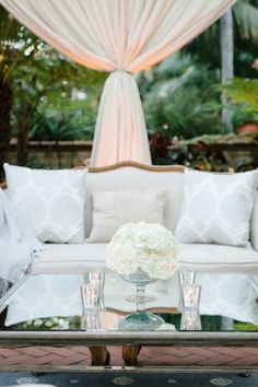 Outdoor cabana-lounges in all white feel ultra-stylish and special. At @Mandy Bryant Bryant Dewey Seasons Resort The Biltmore Santa Barbara.