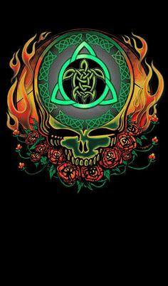 Grateful Dead Celtic Triquetra Native American Terrapin Grateful Dead Tattoo, Grateful Dead Shows, Grateful Dead Image, Grateful Dead Poster, Grateful Dead Dancing Bears, Dead And Company, Skeleton Art, Happy Hippie, Egyptian Symbols