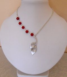Valentines Day Jewelry  Calla Pendant Necklace, Statement Necklace, Lariat necklace, Red Coral, Wedding jewelry, Giff. $27.00, via Etsy.