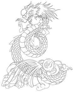 Shiryu Dragón del tatuaje lineart por Azraeuz
