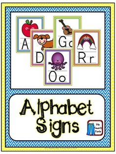 Above the board alphabet posters in a bright chevron pattern.
