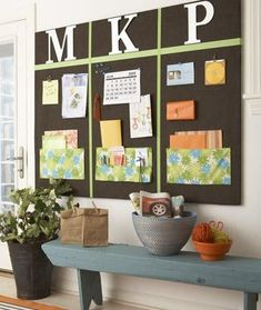use chalkboard paint and magnetic paint - weekly/daily messages, place for homework/homework folders