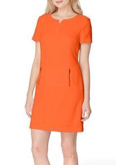 Tahari ASL Tangelo Orange Split-Neck Sheath Dress