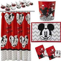 DISNEY MICKEY U0026 MINNIE MOUSE RED BATHROOM SET Shower Curtain Hooks Bath Rug  Mat+ Part 80