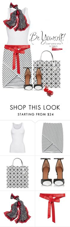 """""""Be Yourself"""" by lisa-holt ❤ liked on Polyvore featuring American Vintage, WithChic, Issey Miyake, Givenchy, White House Black Market and Donna Karan"""