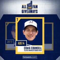 Next up: A bobblehead featuring Craig Counsell! Half of the fans at the game will get a bobble of Craig as a retired #Brewers player and the other half will get a bobble of him as manager—and that's half the fun. Visit us on Facebook or Twitter for your chance to win tix to Craig Counsell Bobblehead Day on Sunday, August 14 before you can find them anywhere else.