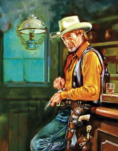 A cowboy, a shot of whiskey and preparing for trouble.
