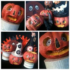 "How to Make Folk Art Jack-o-Lanterns from Dollar Store Pumpkins  .............................................................  Vintage Halloween decorations are on a serious ""coolness"" comeback…the trouble is, they are hard to find and often very expensive.  Here is a DIY solution  that helps you get the look of vintage without the price or hassle, just a little creativity…  #diy #halloween #vintage #howto #pumpkin #confessionsofcraftywitches"