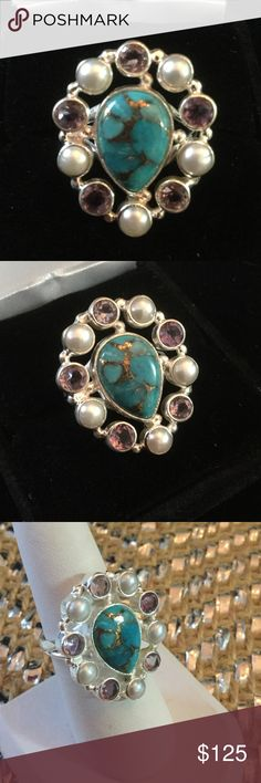 Genuine Turquoise, Pearls & Amethyst Ring Artistic,  straight from the Gem Show,  genuine Copper in Turquoise surrounded by natural pearls and Amethyst !  Set in .925 silver in a distinctive setting that is dainty yet striking in its unique high end one of a kind design.  Future heirloom for your family.  NWT Gem Show Jewelry Rings