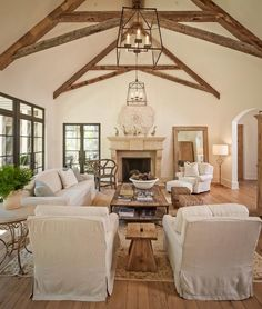 Living Room with Vaulted Ceiling Beams | Cathedral ceiling beams photos