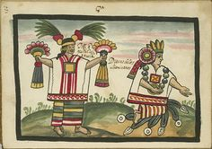 """Tozi que quiere dezir aguela. Diosas de los Mexicanos  Two goddesses. Toci or Tonantzin, """"our venerated mother,"""" with a bone through her nose holds flower plumes and wears quetzal plumes on her head. Xochiquetzal, """"flower feather,"""" wearing a jade necklace, kneels on a lake."""