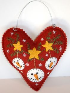 Heart/Snowman felt ornament