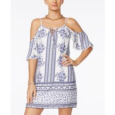 Trixxi Juniors' Printed Cold-Shoulder Flutter-Sleeve Dress ($59) ❤ liked on Polyvore featuring dresses, white dress, beachy dresses, boho chic dresses, white beach dress and lace up dress