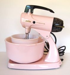 Vintage Pink Sunbeam Mixmaster Electric Stand Mixer & 2 Original Bowls and Beaters 12 Speed -Works Great! 1950 Retro Pink and Black Kitchen  by cocoskitchen
