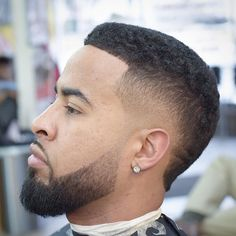 High Drop Fade + Crew Cut + Beard Fade - Best Haircuts For Black Men: Cool Black Men's Hairstyles, Fade Haircut Styles For Black Guys Drop Fade Haircut, Fade Haircut Styles, Hair And Beard Styles, Curly Hair Styles, Black Men Haircuts, Black Men Hairstyles, Cool Haircuts, Cool Hairstyles, Men's Haircuts