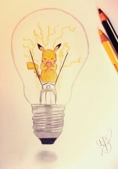 This pikachu bulb may be the most cutest and electrifying light bulb to date. Light Bulb Drawing, Light Bulb Art, Sketchbook Drawings, Art Sketches, Art Drawings, Food Art Painting, Painting & Drawing, Illustrations, Illustration Art