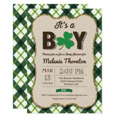 St. Patrick's Day Party Invitations Lucky Charm Baby Shower Invitation