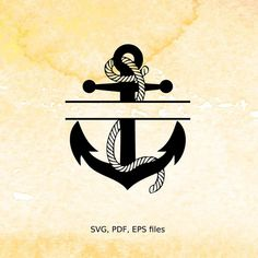 Split Anchor Monogram SVG rope nautical Split Monogram by DigiLOHS