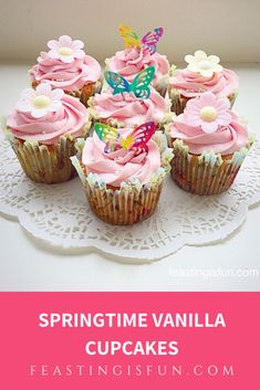 Springtime Vanilla Cupcakes - Feasting Is Fun Cupcake Tutorial, Easter Recipes, Easter Food, Good Food, Yummy Food, Savoury Baking, Fresh Bread, Vanilla Cupcakes, Buttercream Frosting