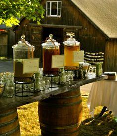 Drinks and jars on barrels