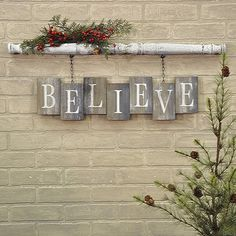 """BELIEVE Barn Board Bricks with Spindle Wall Sign Spindle has an antique white crackled paint finish Weathered and worn """"bricks"""" of reclaimed wood White stencilled letters x x Two clips on the back of the spindle make this item easy to hang Christmas Wood Crafts, Noel Christmas, Rustic Christmas, Christmas Projects, All Things Christmas, Winter Christmas, Holiday Crafts, Christmas Ornaments, Christmas Ideas"""