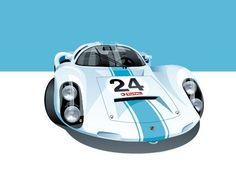 Iconic Racing Car Posters by Arthur Schening – Porsche 910 Poster Classic Motors, Classic Cars, Vintage Race Car, Vintage Auto, Garage Art, Automobile, Car Illustration, Car Posters, Car Drawings