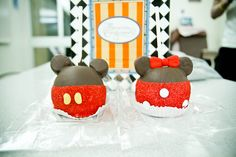 Mickey and Minnie chocolate covered apples with marshmallow ears and sanding sugar and m&m/jelly bean accents   Disney Dessert