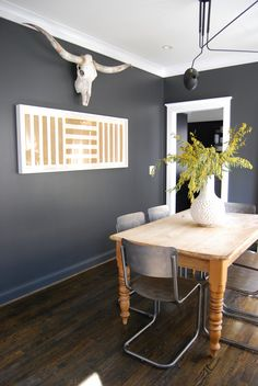 Paint colors that match this Apartment Therapy photo: SW 6089 Grounded, SW 7537 Irish Cream,* SW 7674 Peppercorn*, SW 2927 Weathervane, SW 6252 Ice Cube