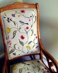 My grandmothers rocking chair at my parents house that is embroidered with flowers and birds. Don't know for sure who embroidered it. Jacobean Embroidery, Vintage Embroidery, Embroidery Stitches, Machine Embroidery, Embroidery Ideas, Floral Furniture, Floral Chair, Floral Fabric, Reupholster Dining Room Chairs
